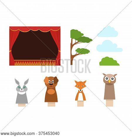 Cartoon Children Puppet Theater Concept Set Show, Entertainment Or Performance Symbol Flat Design. V