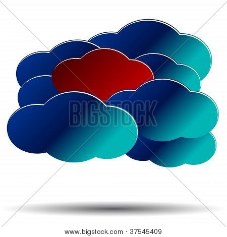 The abstract concept of unique opinion in the form of clouds poster