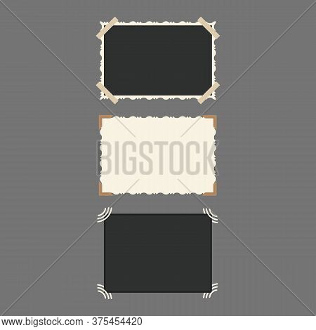 White And Black Blank Retro Photos Horizontal Empty Template Mockup Set. Vector Illustration Of Phot