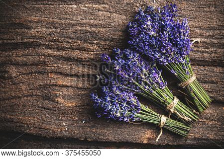 Lavender Flowers On Wooden Board With Space For Your Text