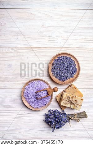 Handmade Soap And Bath Salt Decorated With Lavender