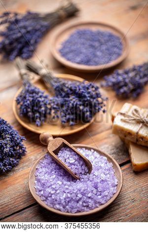 Hygiene And Relaxation For Body Concept With Lavender And Bath Salt