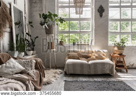 Lounge Room With Stylish Interior Design At Comfortable House, Sofa, Cushions, Soft Plaid, House Dec