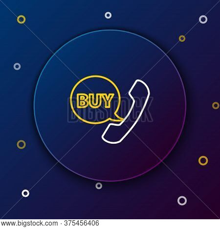 Line Phone And Speech Bubble With Text Buy Icon Isolated On Blue Background. Online Buying Symbol. S