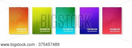 Rainbow Set Of Abstract Dynamic Modern Bright Banners With Different Texture, Template Cover Design.