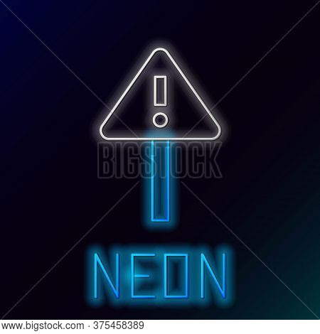 Glowing Neon Line Exclamation Mark In Triangle Icon Isolated On Black Background. Hazard Warning Sig