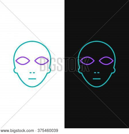 Line Alien Icon Isolated On White And Black Background. Extraterrestrial Alien Face Or Head Symbol.