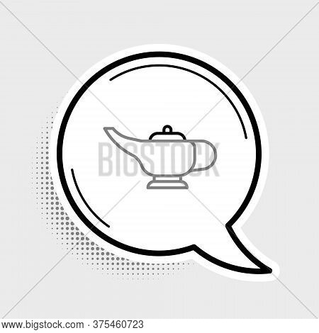 Line Magic Lamp Or Aladdin Lamp Icon Isolated On Grey Background. Spiritual Lamp For Wish. Colorful
