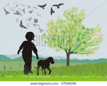 Puppy and boy in the spring