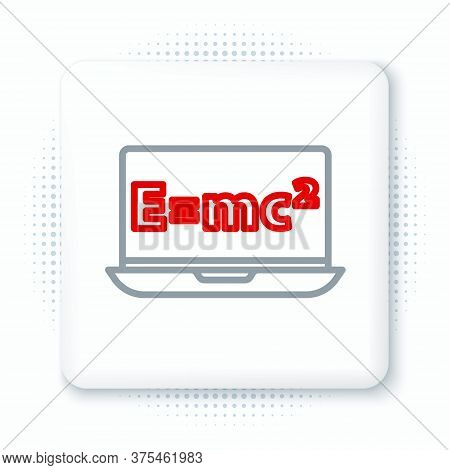 Line Math System Of Equation Solution On Laptop Icon Isolated On White Background. E Equals Mc Squar