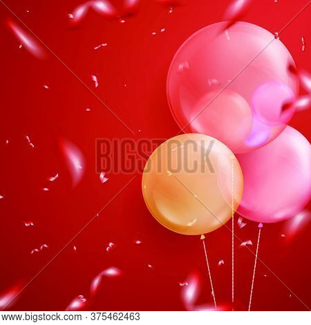 Colourful Realistic Helium Balloons, Christmas Holiday Background.