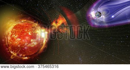 Earth's Magnetic Field Against Sun's Solar Wind, Flow Of Particles. Element Of This Image Is Furnish