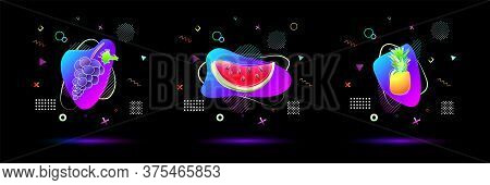 Bright Neon Colored Gradient Pineapple, Watermelon, Grape Fruit With Vivid Colorful Abstract Fluid L