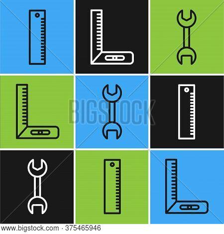 Set Line Ruler, Wrench Spanner And Corner Ruler Icon. Vector