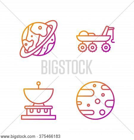 Set Line Satellite Dish, Planet Saturn, Space Capsule And Parachute And Mars Rover. Gradient Color I