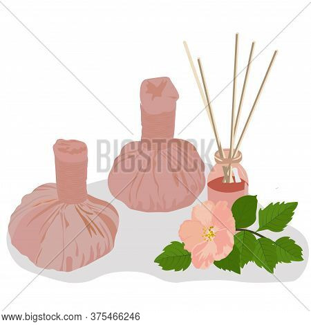 Vector Stock Illustration Of Herbal Massage Bags. Aromatherapy. Banner For A Thai Massage Salon. Sto