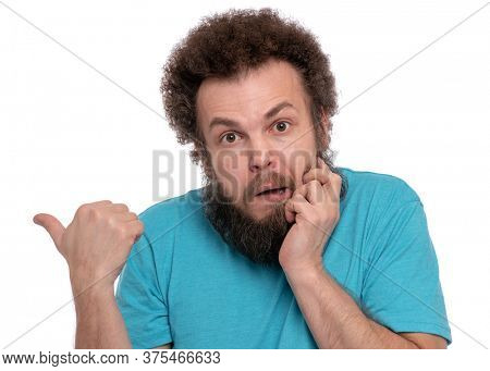 Crazy bearded Man with funny Curly Hair, isolated on white background. Surprised or Shocked guy - keeping mouth open. Emotions and signs concept.