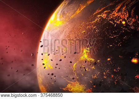Illustration, Asteroids Around A Young Hot Planet.