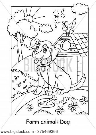 Vector Coloring Pages With Cute Dog Listening A Song Of A Bird. Cartoon Contour Illustration Isolate