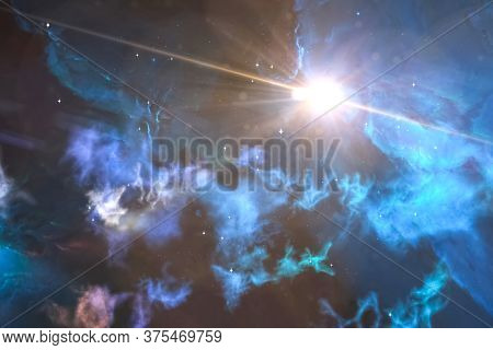 A Supernova Explosion In The Universe Among Gas Clouds.