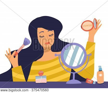 Beautiful Young Woman Character Doing Make Up. Table With Makeup, Cosmetics And Wound Mirror. Girl H