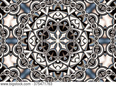 Abstract Techno Background Consisting Of Interweaving Chains And A Complex Figure In The Center