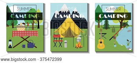 A Set Of Flat Vector Leaflets For Summer Camping, Hiking And Tourism. Three Flyers With A Tent, Picn