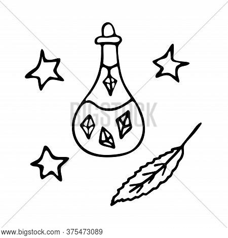 Magic Potion In A Bottle, Witchcraft. Magic Elixir. Ruby-shaped Medallion. Stars And Feather. Black