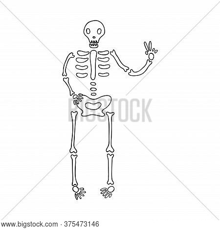 Skeleton Shows A Peace Sign. Black And White Vector Illustration In Doodle Style. Single Object. Fun