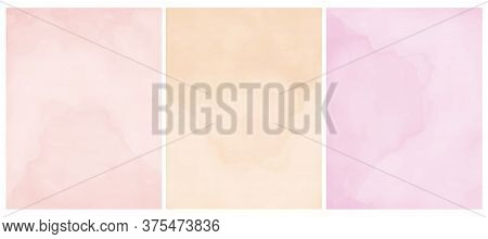 Simple Pastel Color Grunge Vector Layouts. Pastel Pink And Light Cream Backgrounds. Delicate Waterco