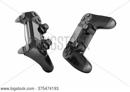 Black Gamepad Isolated On White Background 3d Rendering Without Shadow