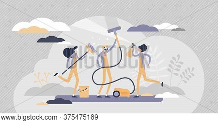 Cleaning Team As Professional Hygiene Service Business Flat Tiny Persons Concept. Washing Sanitary A