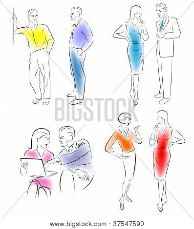 Illustration conversing characters.