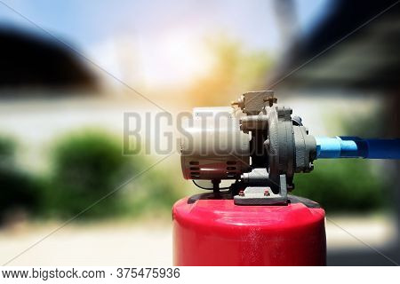 Installation Motor Of Automatic High Pressure Water Pump For Deep Water Suction. For Example, Wells