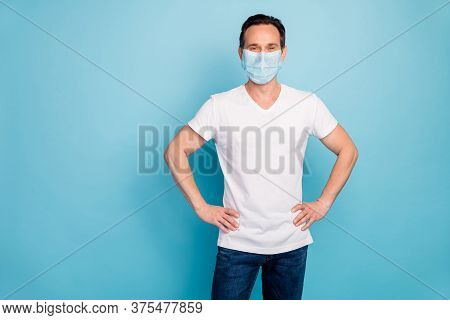 Portrait Of His He Nice Guy Wearing Safety Gauze Mask Hands On Hips Stop Flu Flue Grippe Illness Dis
