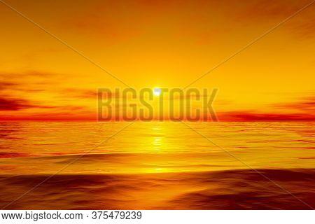 A beautiful golden ocean sunset 3D illustration