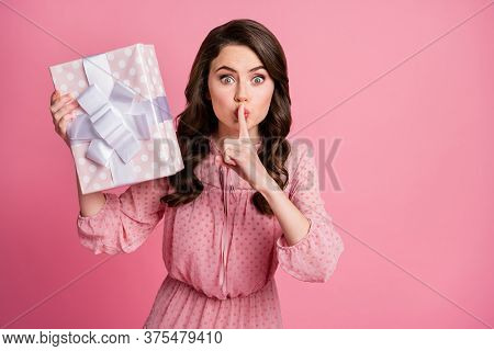 Dont Tell Its Secret. Cute Girl Prepare Gift Box Friends Anniversary Ask Dont Share Confidential Inf
