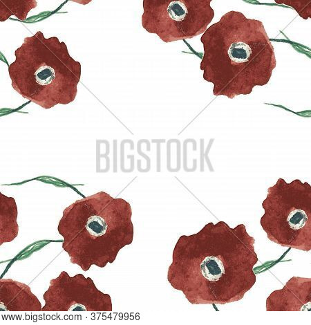 Red Poppy Flowers Square Border Illustration. Painterly Watercolor Frame With Copy Space. For Cards,