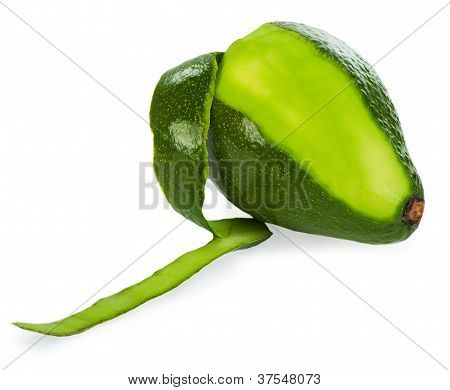 Peeled Avocado On White Background