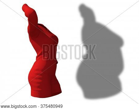 Conceptual fat overweight obese female dress outfit vs slim fit healthy body after weight loss or diet thin young woman isolated. A fitness, nutrition or fatness obesity health shape 3D illustration