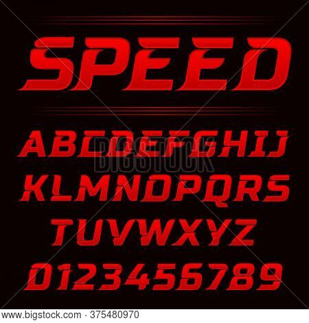Speed Letters Set. Red Race Alphabet Vector. Font For Event, Promo, Logo, Banner, Monogram And Poste