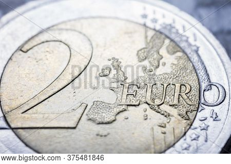Two Euro Coin Macro Detail With Euro Word. 2 Euro Coin Macro View. European Currency Extreme Close U