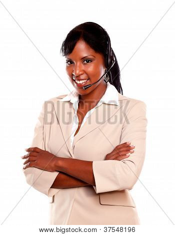 Friendly Young Receptionist Wearing Headset