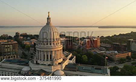 Aerial View Of City Of Madison. The Capital City Of Wisconsin From Above. Drone Flying Over Wisconsi