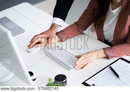 Sexual Harassment At Workplace. Woman Being Harassed