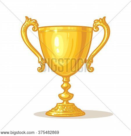 Gold Trophy Cup. Winner Concept. Hand Drawn Vector Illustration Isolated On Dark White Background