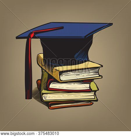 Academic Graduation Cap On Stack Of Books. Retro Engraving Style Education Concept
