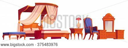 Wooden Furniture For Old Victorian Bedroom Isolated On White Background. Vector Cartoon Set Of Vinta
