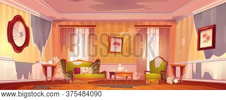 Old Dirty Victorian Living Room With Broken Furniture. Vector Cartoon Illustration Of Empty Abandone