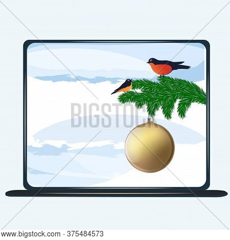 Winter Landscape On A Computer Screen - Spruce Branch, Bullfinches, Snow - Vector. Banner. Christmas